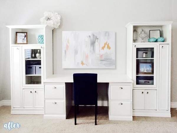 White Desk Unit with art