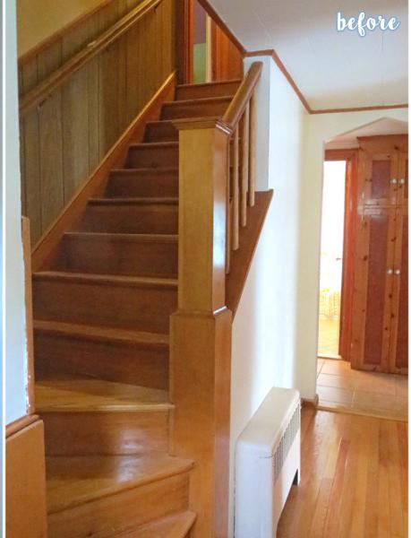 White/Aqua Hallway and Stairs Before