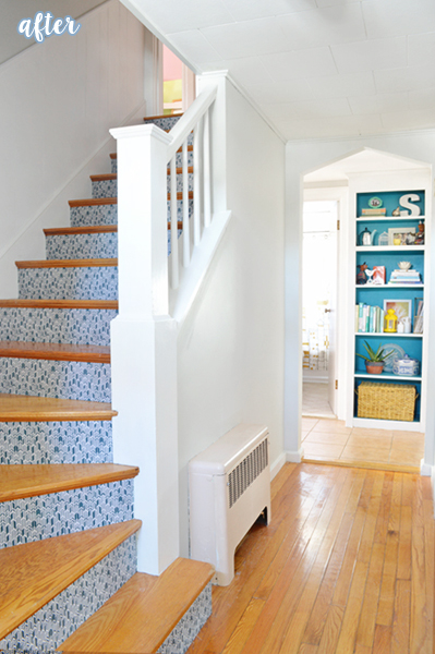 White/Aqua Hallway and Stairs