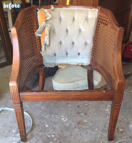 White and Blue Cane Chair Before