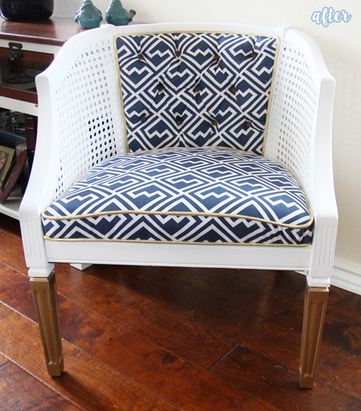 White and Blue Cane Chair