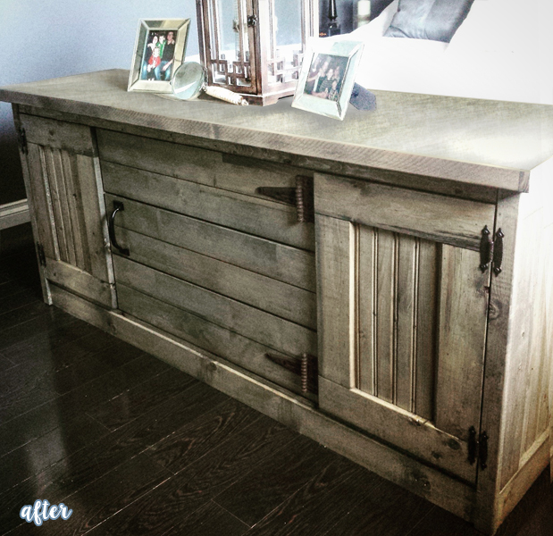 Old dresser redone with reclaimed wood 'cladding' as seen on betterafter.net