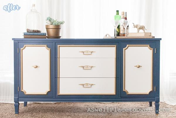 blue white and gold dresser makeover