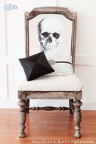 skull halloween chair makeover