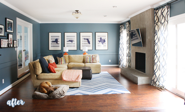 Blue Contemporary Living Room
