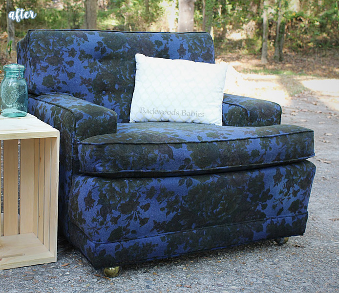 Blue Flowered Fabric Chair