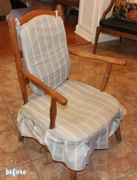 Blue Ruffle Chair Before