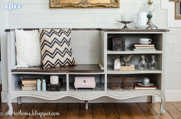 Cream and Wood Storage Bench