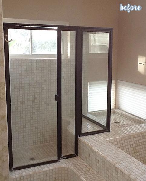 Dark Wood and Tile Bathroom Before 1