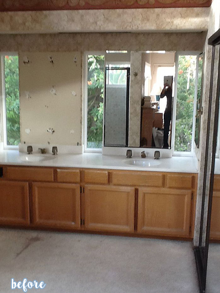 Dark Wood and Tile Bathroom Before