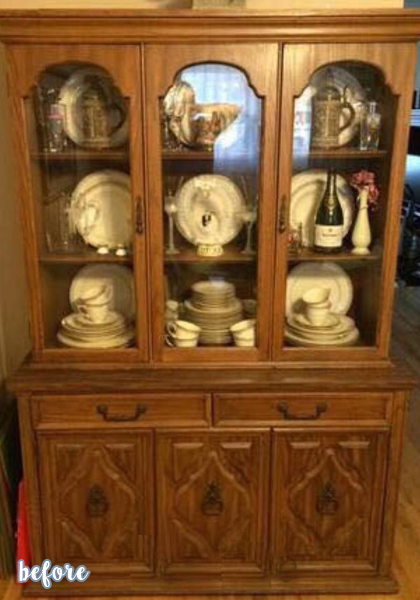 Gray Flowered Curio Cabinet Before