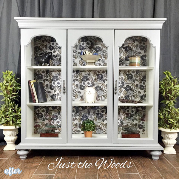 Gray Flowered Curio Cabinet