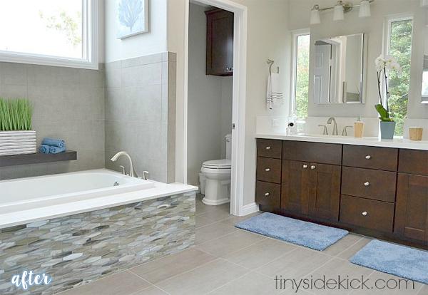 bathroom makeover tiled tub after