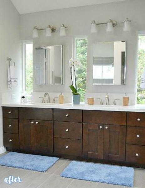 dark wood bathroom makeover vanity