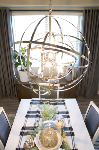 orb chandilier in dining room