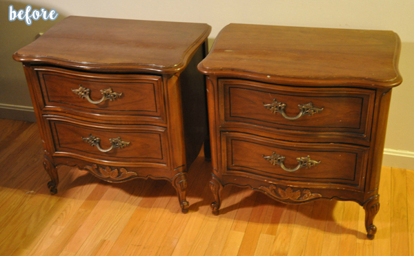 Gray French Nightstands Before