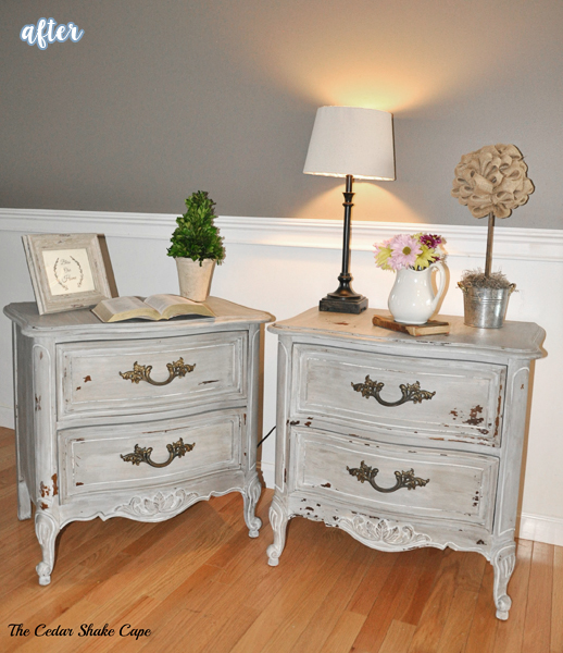 Gray French Nightstands