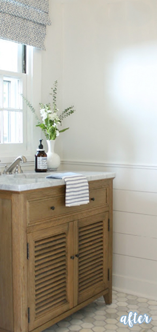 White and Wood Powder Room