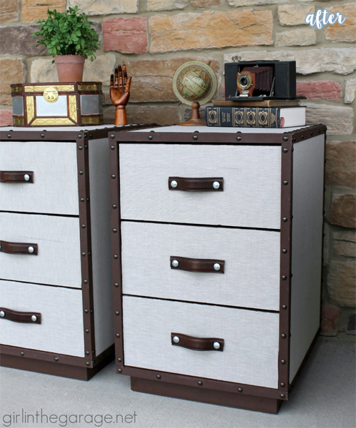 pottery barn inspired trunk nightstands after