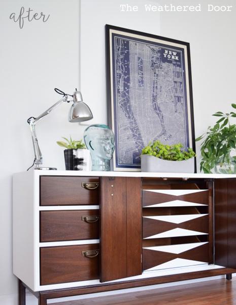 High gloss mid century modern dresser with geometric drawers
