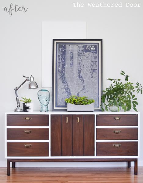 High Gloss mid century modern dresser makeover