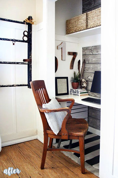 Wood Plank Closet Office Makeover