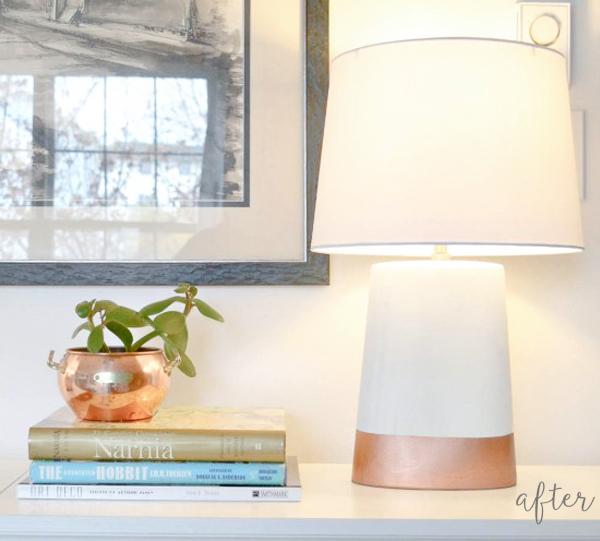 copper lamp makeover - after