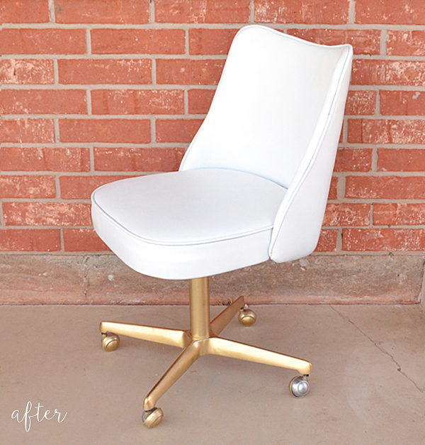 gold and white thrifted chair makeover - after