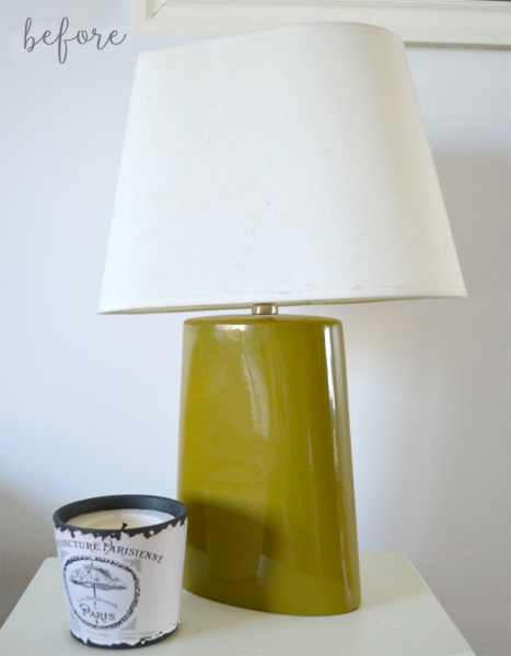 olive green lamp makeover - before