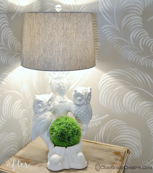owl lamp makeover - after