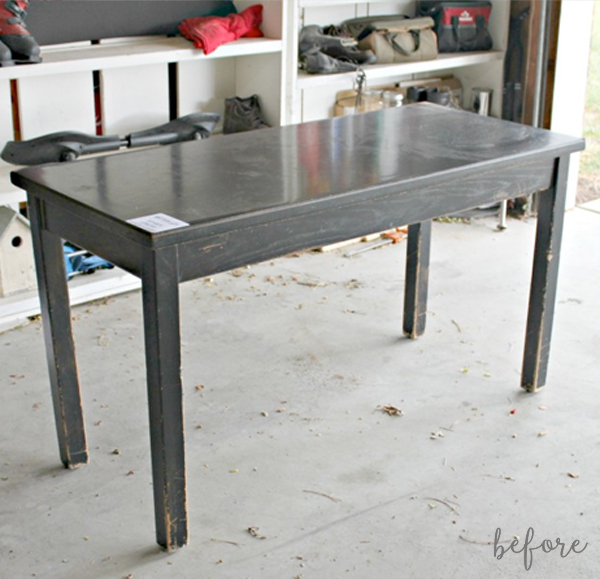 zinc lookalike table makeover - before