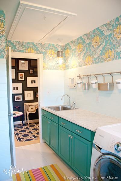 Aqua and Floral Laundry Room 1