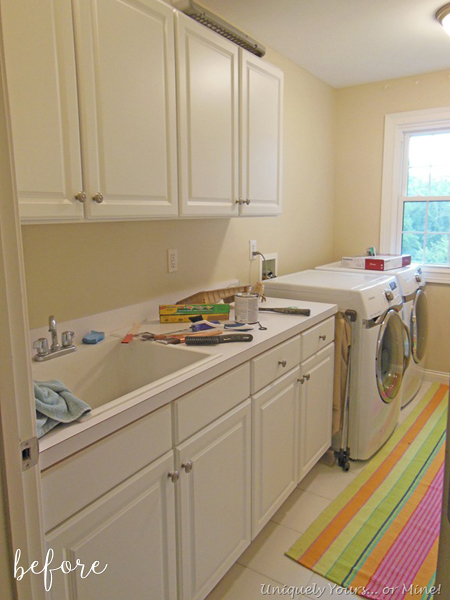 Aqua and Floral Laundry Room Before