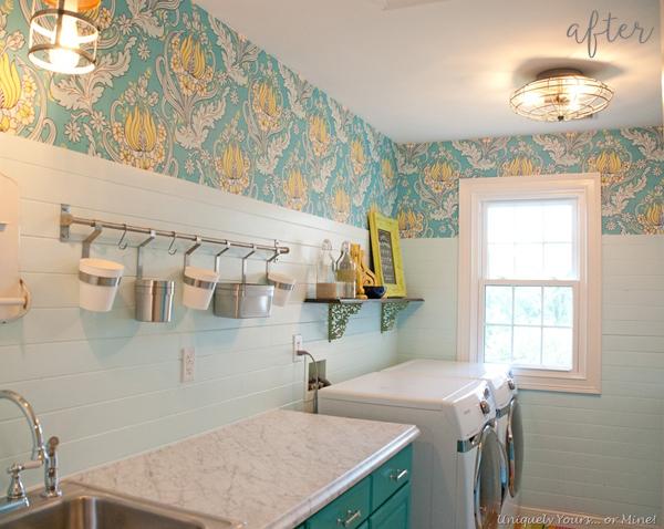 Aqua and Floral Laundry Room