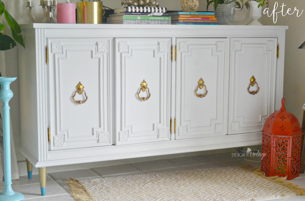White And Gold Credenza After Adding Legs