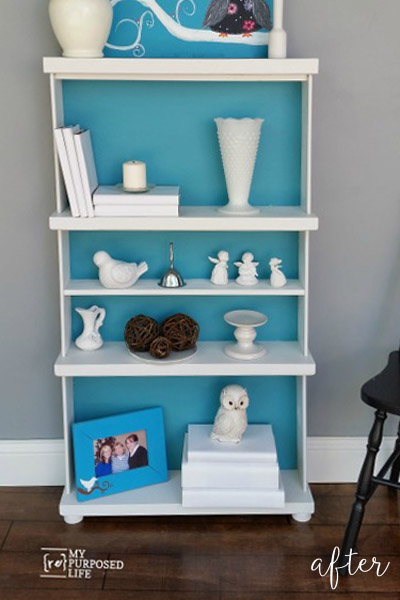 Aqua Bookcase from a repurposed dresser