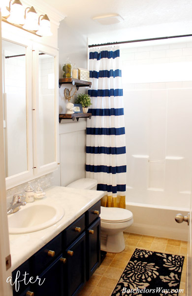bathroom makeover: blue and gold