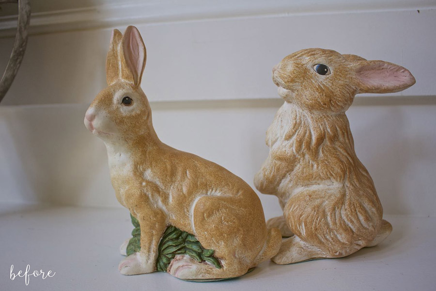 Chalk Painted Bunnies Before