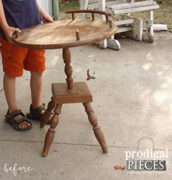 distressed makeover - Clock Face Table Before
