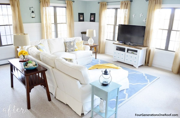 coastal living room makeover after