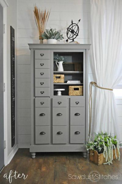 gray repurposed dresser