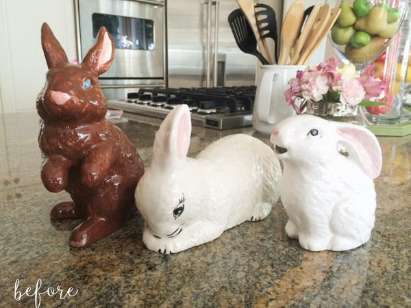 Pebble Painted Bunnies Before