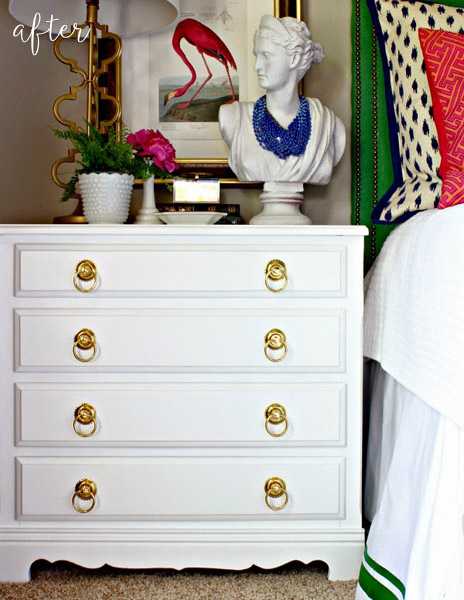 White with Gold Handles Dresser