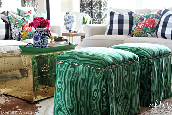 Green Upholstered Ottomans