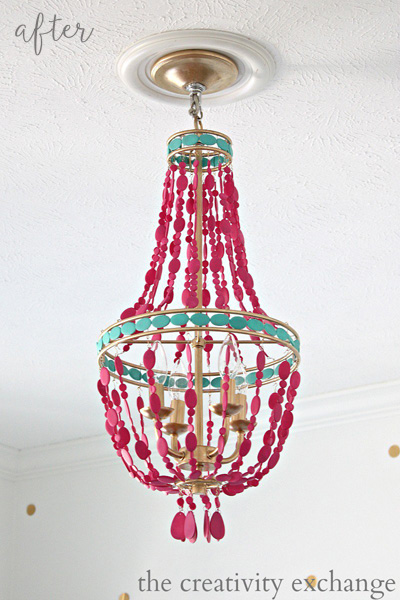 Pink Painted Empire Chandelier