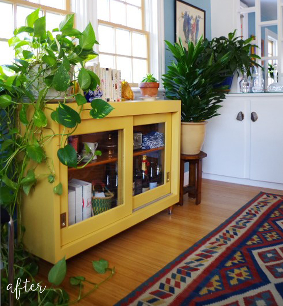 Salvaged Cabinets Two Ways - Yellow