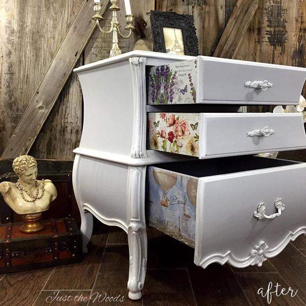 Soft Gray Bombe Dresser 1