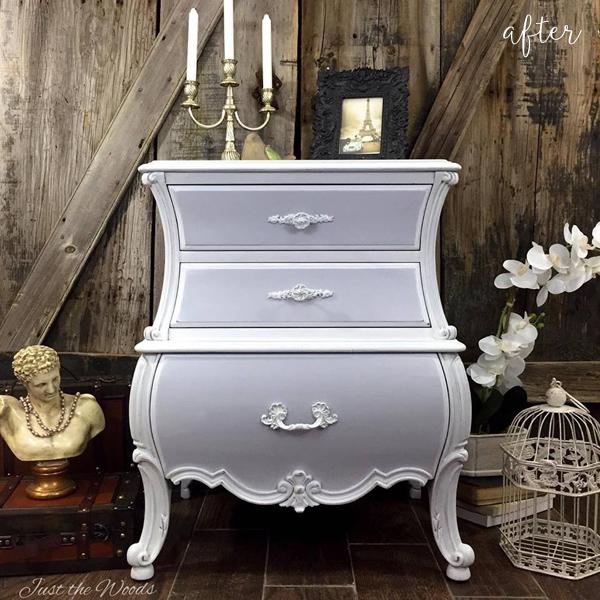 Soft Gray Bombe Dresser