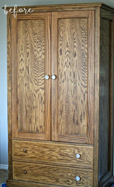 Wood Stained Armoire Before