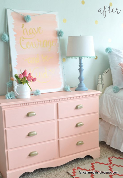 Coral and Gold Girl Bedroom Dresser